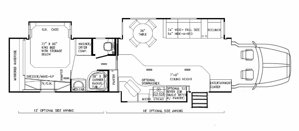 semi truck floor plans. Triple slide outs with shorter living room area and converted day cab truck Custom Motor Coaches by PowerHouse Coach